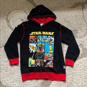 Disney Star Wars 9 10 Black Red Hooded Jacket Coat